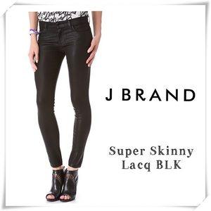 J Brand Super Skinny Lacq Black Jeans